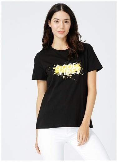 Fabrika Fabrika Kadın Siyah Bisiklet Yaka T-Shirt Siyah